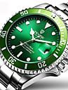 Tevise Erkek Moda Saat Elbise Saat Bilek Saati Otomatik kendi hareketli Paslanmaz Çelik Gümüş 30 m Su Resisdansı Takvim Yaratıcı Analog İhtişam Lüks Işıltılı Günlük Zarif - Beyaz Siyah Yeşil / Parlak