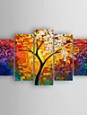 HANDMÅLAD Abstrakt Horisontell, Abstrakt Duk Hang målad oljemålning Hem-dekoration Fem paneler