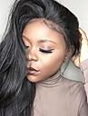 Obehandlad hår Spetsfront Peruk Brasilianskt hår Rak 130% Densitet 100 % handbundet Till färgade kvinnor Naturlig hårlinje Natur Svart