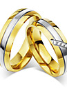 Pentru cupluri Inele Cuplu Zirconiu Cubic Auriu Zirconiu Cubic Oțel titan Rotund Vintage Elegant Nuntă Aniversare Petrecere / Seară