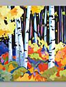 HANDMÅLAD Abstrakt Horisontell, Abstrakt Duk Hang målad oljemålning Hem-dekoration En panel
