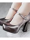 Pentru femei Pantofi Piele nubuc PU Primăvară Confortabili Tocuri pentru Casual Auriu Argintiu Gri Închis Rosu