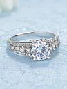 Pentru femei Zirconiu Cubic Plastic / Placat cu platină Band Ring - Rotund Elegant / Modă Argintiu Inel Pentru Nuntă / Logodnă / Ceremonie
