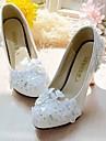 Damă pantofi de nunta Pantof cu Berete Dantelă Imitație de Piele Primăvară Toamnă Nuntă Rochie Party & SearăPiatră Semiprețioasă