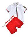 Băieți Set Îmbrăcăminte Dungi Bumbac Vară Alb Roșu-aprins