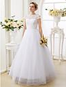 Salon Joya Hasta el Suelo Encaje sobre tul Vestidos de novia hechos a medida con Cuentas por LAN TING BRIDE® / Centello y Brillo