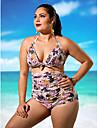 Pentru femei Mărime Plus Size Bikini - Imprimeu, Floral Halter Talie Înaltă