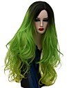 Synthetische Peruecken Natuerlich gewellt Gruen Gruen Synthetische Haare Damen Gefaerbte Haarspitzen (Ombré Hair) Gruen Peruecke Lang Kappenlos