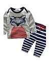 Bebelus Unisex Set Îmbrăcăminte Imprimeu Animal 100% Bumbac Casul/Zilnic Toamnă Manșon Lung Desen animat Alb Gri