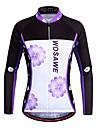 WOSAWE Femme Manches Longues Maillot de Cyclisme - Violet Floral / Botanique Cyclisme Maillot Hauts / Top, Sechage rapide Respirabilite Extensible, Printemps & Automne, Polyester / Elastique