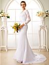 Mermaid / Trumpet V Neck Court Train Chiffon Floral Lace Custom Wedding Dresses with Appliques Sash / Ribbon by LAN TING BRIDE®