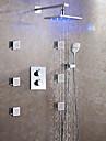 Nutida LED Väggmonterad Regndusch Termostatisk Keramisk Ventil Två handtag nio hål Krom , Duschkran