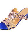Femme Chaussures Polyurethane Ete Sandales Marche Talon Bottier Bout ouvert Paillette Brillante Pour Noir Bleu Bleu royal
