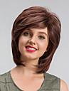 Syntetiskt hår peruker Rak Utan lock Naturlig peruk Korta Brun