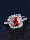 Dam Syntetisk Ruby Sterlingsilver Bandring - Fyrkantig Elegant Mode Röd Ringa Till Bröllop Förlovning Dagligen Ceremoni