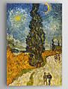 HANDMÅLAD Landskap Vertikal,Ny ankomst En panel Kanvas Hang målad oljemålning For Hem-dekoration