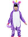 Kigurumi Pijamale Cal Zburător Festival/Sărbătoare Sleepwear Pentru Animale Halloween Roz Albastru Mov Modă Culori solide Brodat Flanel