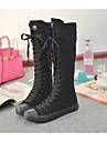 Femme Chaussures Toile Printemps Automne Confort Bottes Talon Plat Bout rond Bottes Lacet pour Habille Blanc Noir