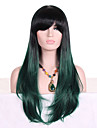Synthetic Hair Wigs Wavy Dark Roots Ombre Hair With Bangs Capless Cosplay Wig Long Green