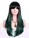 Cheveux Synthetiques Perruques Ondule Racines foncees Cheveux Colores Avec Frange Sans bonnet Perruque de Cosplay Long Vert