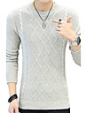 Bărbați Plus Size Casul/Zilnic Regular Plover-Dungi Manșon Lung Rotund Bumbac Toamnă Iarnă Mediu Micro-elastic