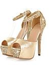 Pentru femei Pantofi Sclipici Spumant / PU Vară / Toamnă Noutăți / Confortabili Sandale Toc Stilat Pantofi vârf deschis Cataramă pentru