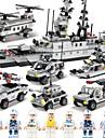 SHIBIAO Lego 1090 pcs Reparații Portavion Barcă Navă Militară Luptător Politie Pentru copii Adulți Băieți Cadou