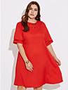Pentru femei Mărime Plus Size Șic Stradă Shift Rochie Mată Lungime Genunchi Roșu