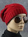 Adulți Curcubeu Iarnă Primăvara/toamnă Pălărie Acrilic polyster,Floppy Culoare pură Roșu-aprins Gri Închis Bej Bleumarin Gri Deschis