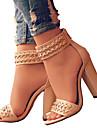 Pentru femei Pantofi PU Primăvară / Vară Confortabili / Noutăți Sandale Vârf deschis Fermoar Negru / Bej / Nuntă / Party & Seară