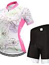 FUALRNY® Dam Kortärmad Cykeltröja med shorts - Vit Cykel Klädesset, Snabb tork