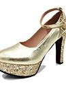 Damă Pantofi PU Primăvară Vară Toamnă Tocuri Toc Gros Vârf rotund Cristal Paiete Cataramă Pentru Nuntă Casual Party & Seară Auriu Argintiu