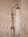 Lux Strălucire Piesă Centrală Ploaie Duș Ploaie Duș De Mână Inclus Valvă Ceramică Roz auriu, Robinete de Duș