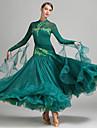 Fuer den Ballsaal Kleider Damen Leistung Elasthan Tuell Milchfieber Applikationen Kristalle / Strass Langarm Normal Kleid