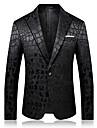 رجالي أسود سترة راقي لون سادة شق الصدر علوي مناسب للحفلات / كم طويل / الخريف / الشتاء / نصف رسمي