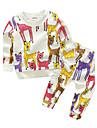 Bebelus Băieți Set Îmbrăcăminte Animal Bumbac Zilnic Primăvara/toamnă Manșon Lung Desen animat Alb