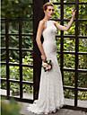 Trompetă / Sirenă Bijuterie Mătura / Trenă Totul peste dantelă Rochii de mireasa personalizate cu Aplică Dantelă de LAN TING BRIDE®