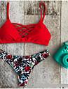 Dame Imprimeu Animal Halter Bikini Costume de Baie Floral Rosu