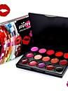 15colors sexig röd läppstickpalett vattentät lipgloss sätter batons makeup