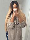 Synthetische Peruecken Glatt Stil Kappenlos Peruecke Blond Schwarz / Strawberry Blonde Synthetische Haare Damen Mittelscheitel Blond Peruecke Lang Natuerliche Peruecke