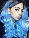 Femme Perruque Synthetique Long Ondulation naturelle Bleu Cheveux Colores Racines foncees Au Milieu Perruque Naturelle Perruque Halloween