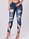 Pentru femei Vintage Subțire Skinny Blugi Pantaloni - Găurite ripped, Floral Brodată
