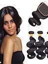 Indiskt hår Remy-hår Kroppsvågor Hårförlängning av äkta hår 4pcs Human Hår vävar