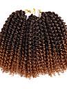 Lockigt Virkad 100% kanekalon hår 3pcs / förpackning Hårförlängningar av äkta hår Lockiga flätor Hårflätor Korta Dagligen