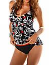 Pentru femei Imprimeu Bustieră Tankini Costume de Baie Sexy Boho Albastru piscină Negru