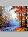 HANDMÅLAD Landskap Horisontell, Rustik Duk Hang målad oljemålning Hem-dekoration En panel