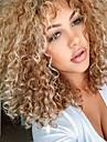 Peruki syntetyczne Curly Styl Z grzywką Bez czepka Peruka Blond Blond Włosie synetyczne Damskie Część boczna / Z grzywką Blond Peruka Długość średnia Peruka naturalna
