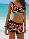 Pentru femei Sportiv Bikini - Cămașă Racer Imprimeu, Floral Cu Bretele Boy Leg