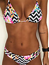 Pentru femei Bikini - Imprimeu, Dungi Floral Cu Bretele Cheeky Τρίγωνο