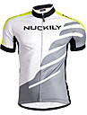 Nuckily Men\'s Short Sleeve Cycling Jersey Green Geometic Bike Jersey Top Breathable Quick Dry Anatomic Design Sports Polyester Mountain Bike MTB Road Bike Cycling Clothing Apparel / Stretchy